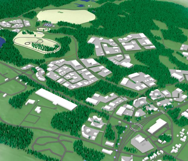 Luonnostyyppinen ilmakuva Kolmenkulman Eco-Industrial Parkista